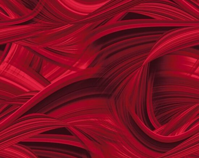 """Red 9537-88 Sedona Waves 108"""" Wideback Cotton Woven Fabric by Blank Quilting"""