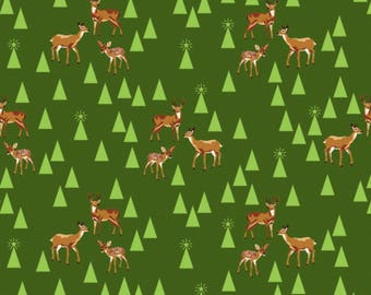 Tula Pink - Limited Edition Holiday Homies - Bambi Life - Pine Fresh  Cotton Woven Fabric