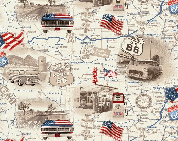 Road Trip by All American Road Trip - Travel Map- Tan - Cotton Woven Fabric - Studio E - 4314-33