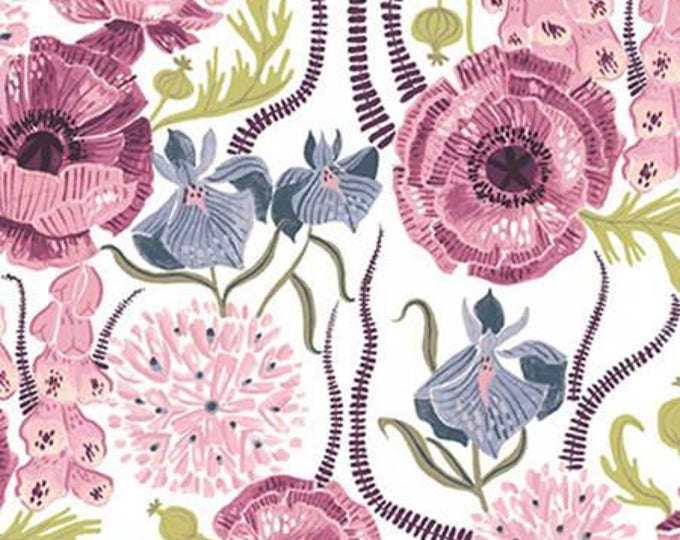 Dear Stella - Garden Sanctuary by Rae Ritchie - White Blooming Garden Purple,   Cotton Woven Fabric