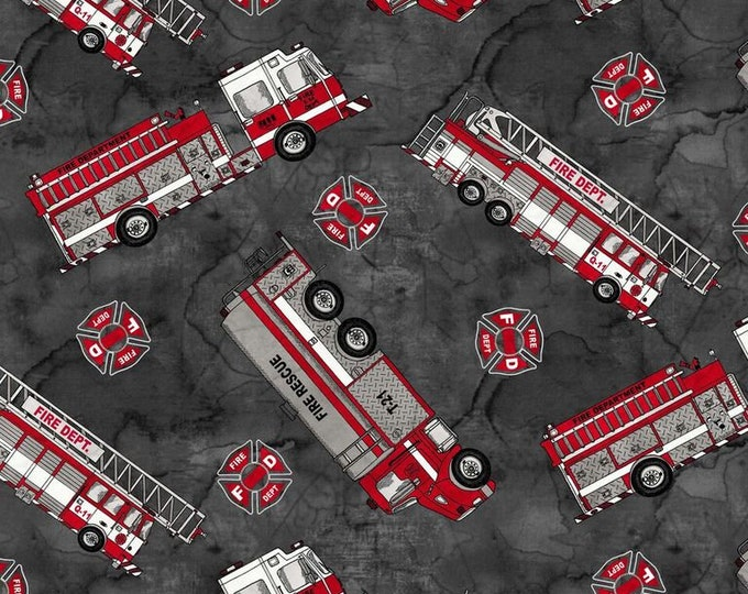 Thin Red Line - Fire Engines - Cotton Woven Fabric - Blank Quilting 9321-99
