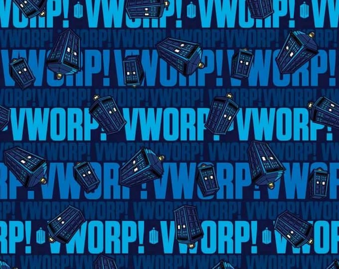 CLEARANCE - Springs Creative - Dr. Who Tardis Wvorp Words on Blue Cotton Woven Fabric - Priced per yard