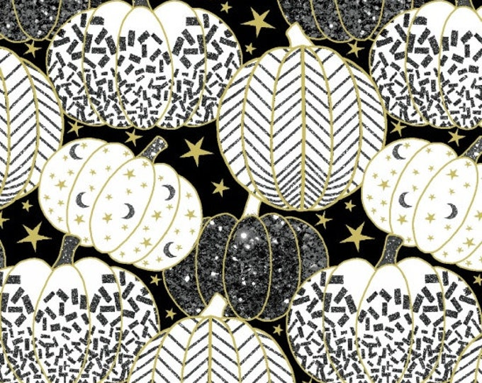 Midnight Spell - Gold Metallic Pumpkins on Black  - Cotton Woven