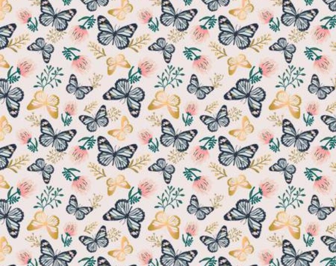 Camelot Fabric - Up Up and Away -  Metallic Butterfly on Pink cotton woven fabric