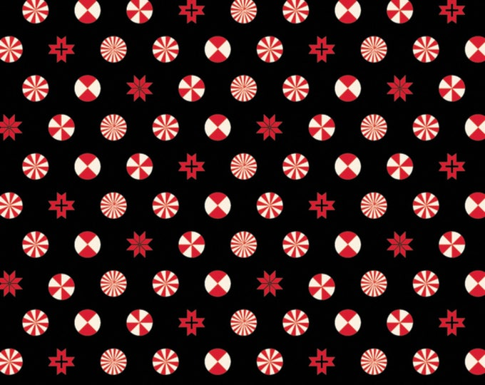 Tula Pink - Limited Edition Holiday Homies - Peppermint Stars - Ink   Cotton Woven Fabric