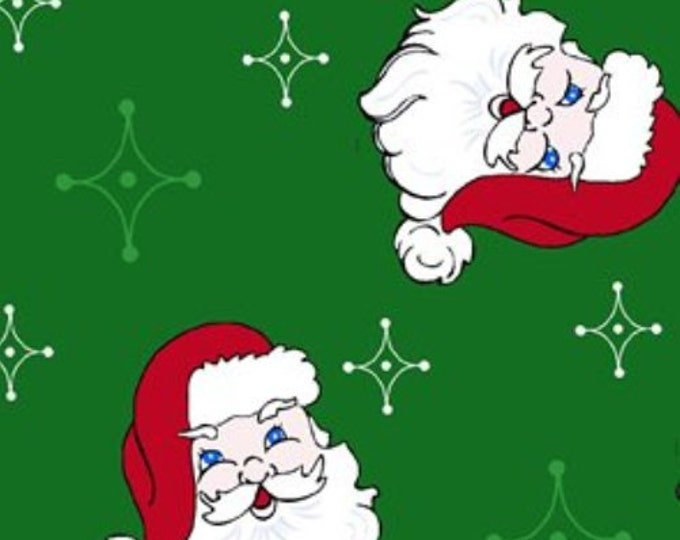 CLEARANCE -       Santa Heads on Festive Green background  -Cotton Woven 1 Yard