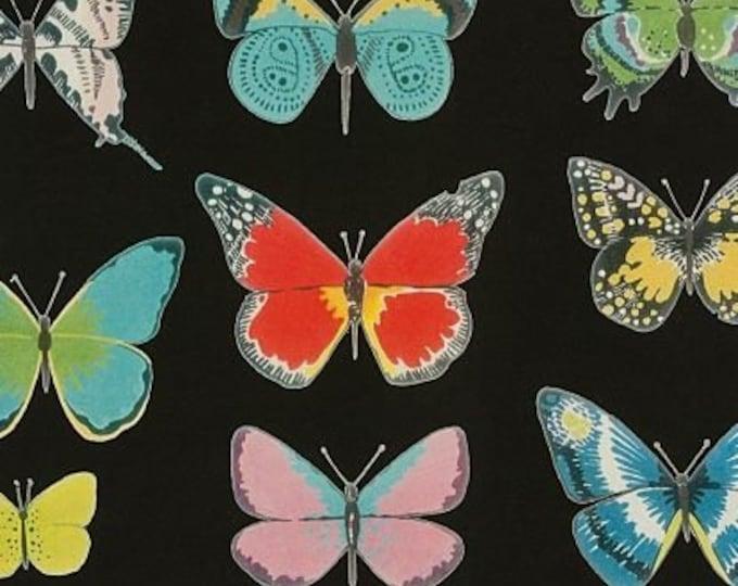 El Tiempo de Mariposa - Black, Frida cotton fabric by Alexandy Henry Fabrics