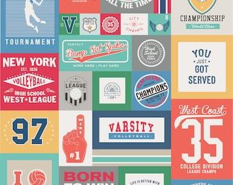 Riley Blake Fabrics - Varsity - Volleyball - 56 Inch x 64 Inch Cotton Woven Fabric Panel