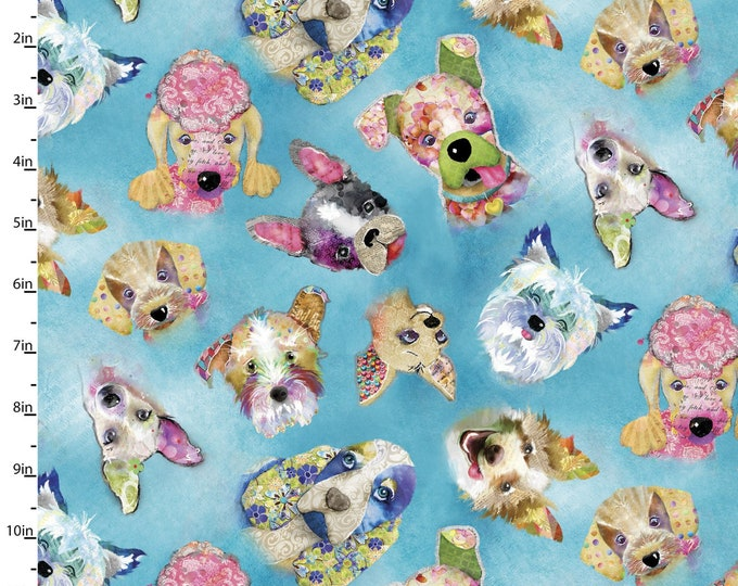 3 Wishes Fabric - Good Dogs Too - Dogs Heads 14847-BLUE - Digitally Printed Cotton Woven Fabric
