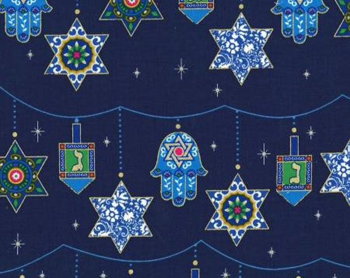 Michael Miller Fabric - Royal Peace Love & Light Festival w/ metallic Cotton Woven Fabric