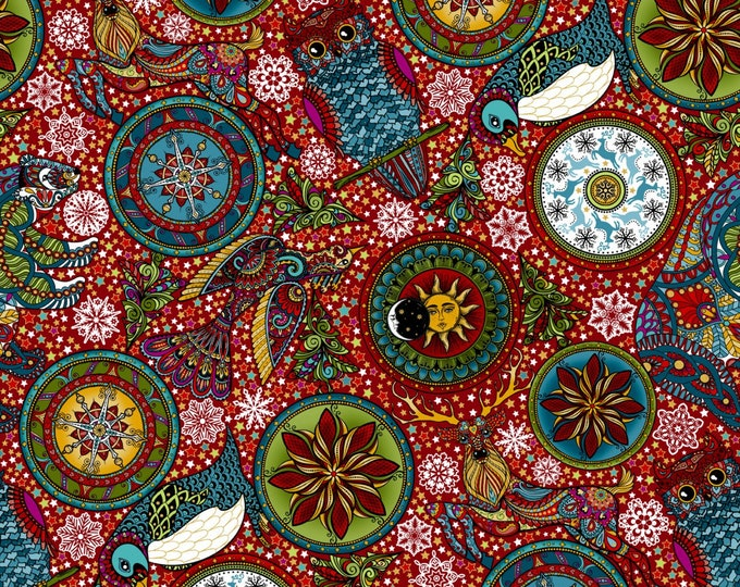 In The Beginning - Celestial Winter by Jason Yenter - Red   1ACW-2M Metallic Cotton Woven Fabric