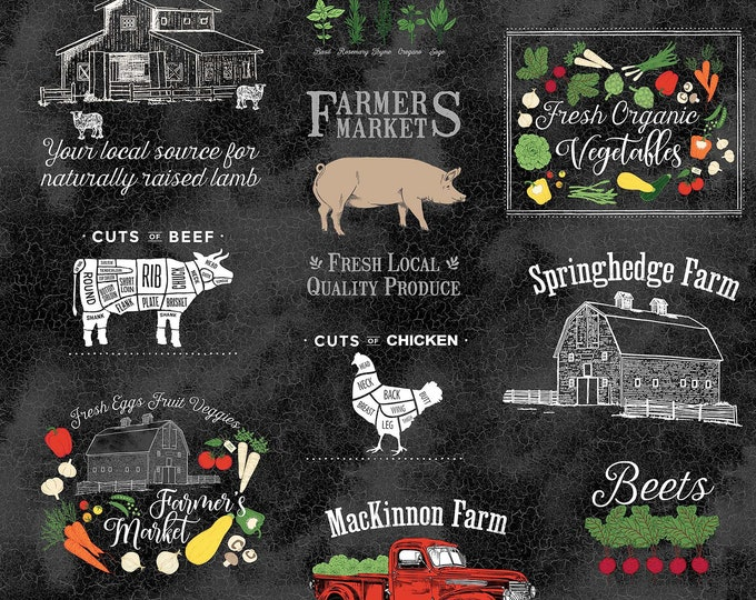 "Northcott - Farm to Table - 24"" Panel #22507-99 Cotton Woven Fabric"