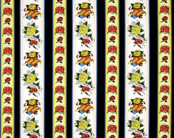Ed Hardy Love Is True Hearts   Roses Stripe Black, Designed by Ed Hardy and  licensed to Quilting Treasures 127b9990fa