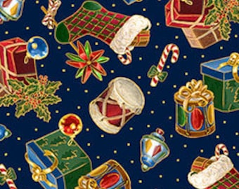 Quilting Treasures - Christmas Eve - Presents & Stockings on Navy - Metallic Cotton Woven Fabric