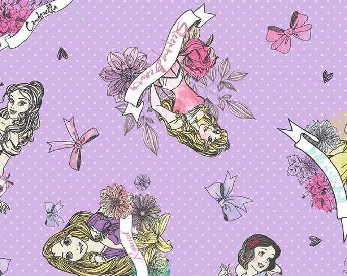 CLEARANCE -      Disney Princess Badges on Purple Cotton Woven Fabric 1 Yard listing