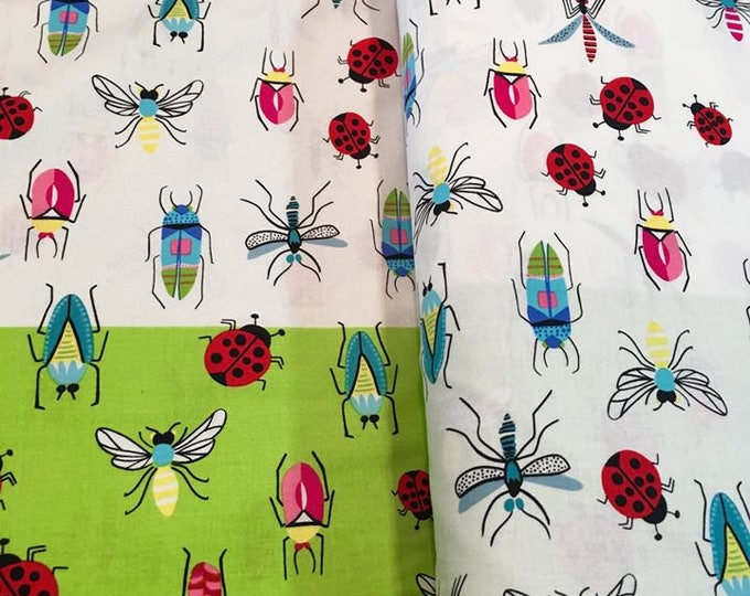 CLEARANCE -        Alexander Henry Fabric - SALE  !!! Tropical Bugs green natural Cotton Woven Fabric  - Price is per yard !