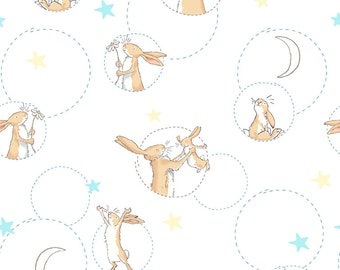 Clothworks Fabrics - Guess How Much I Love You - Bunny Toss White Y-2518-1 Cotton Woven Fabric