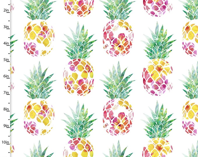 3 Wishes Fabric - Tropicale - Digitally Printed - Pineapples  13778 Cotton Woven Fabric