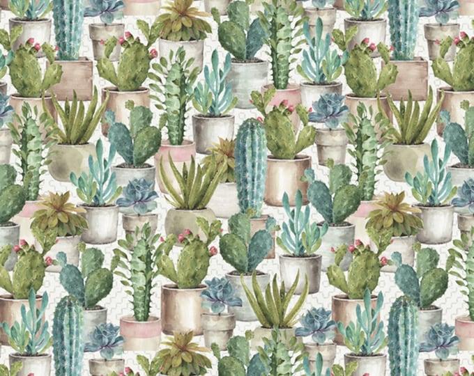 David Textiles - Cactus Garden by Lisa Audit - Cream Cactus Garden # LA02048C1   Cotton Woven Fabric
