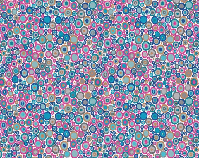 Lews & Irene Fabrics - Lindos - Gennadi Pebbles in Pink with Copper A266.2 Cotton Woven Fabric