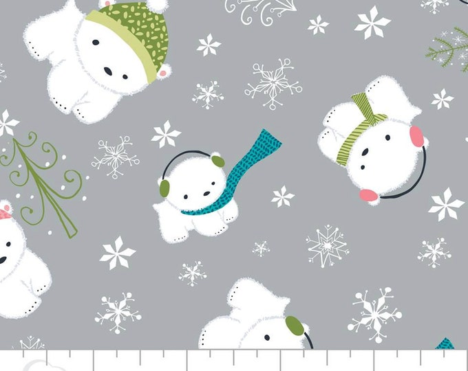 Camelot Fabric - Winter Wonderland -  Polar Bears on Stone Cotton Woven Fabric