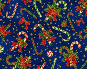 Fabriquilt - Red and Green Candy Canes metallic on blue Cotton Woven Fabric
