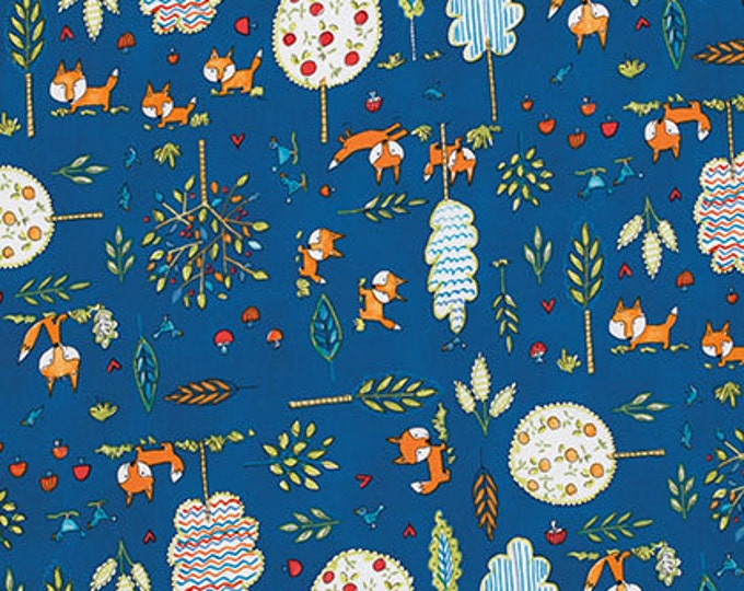 CLEARANCE -     Fox Playground on Navy Blue Cotton Woven by Dena Designs - 1 yard price