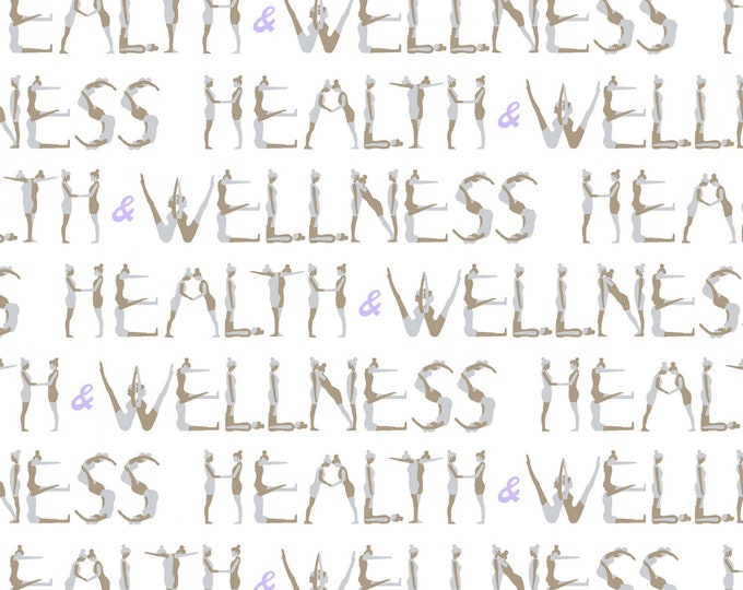 Windham Fabrics - Health & Wellness - Health and Wellness Text White #51299-2 Cotton Woven Fabric