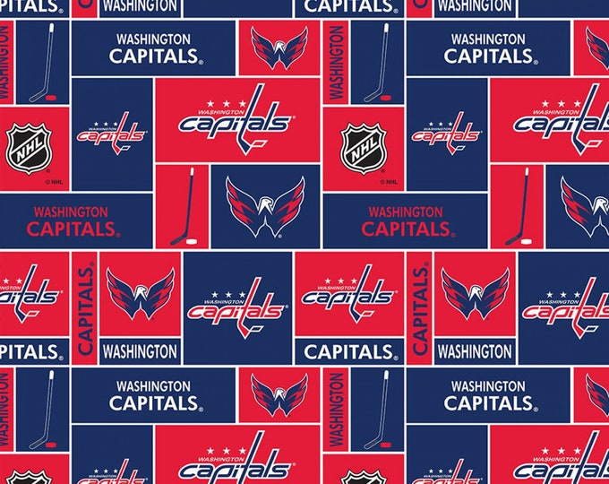 Skyel - Licensed NHL Hockey - Washington Capitals Small Scale Box Allover on Cotton #840CAP Cotton Woven Fabric