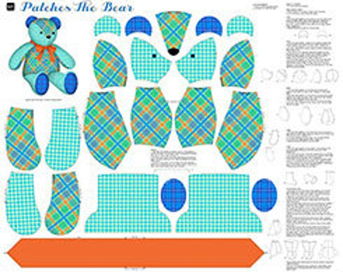 Quilting Treasures - Sew and Go - Sew and Go Stuffed Animal Panel  Patches the Bear in Teal Cotton Woven Fabric