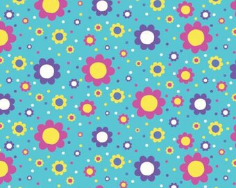 Springs Creative - Bright Flowers on Turquoise Cotton Lycra Knit fabric