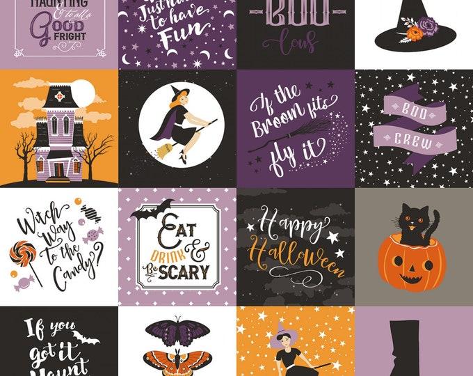 "Riley Blake - Fab-Boo-Lous Witches by Dani Mogstad - Main Multi #C8170R-MULTI (Blocks are 3"" X 3"")  Cotton Woven Fabric"