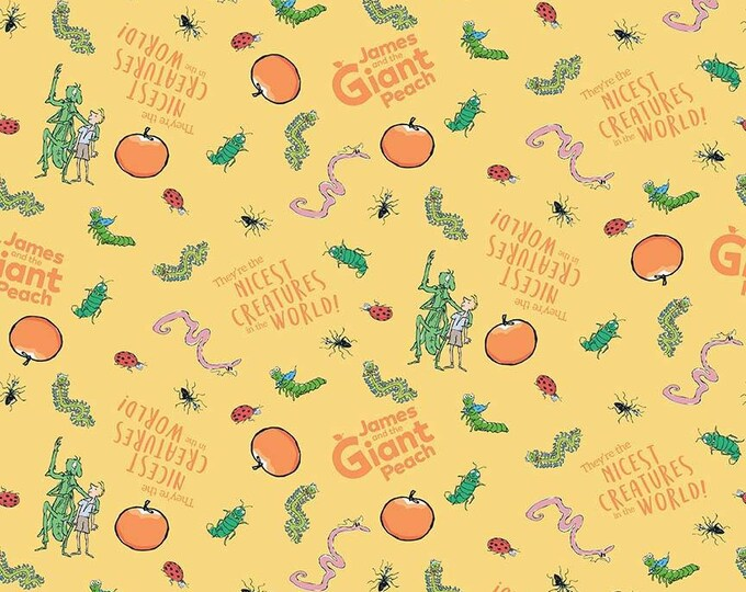 James & the Giant Peach - Creatures -Yellow - Cotton Woven Fabric - Riley Blake Designs