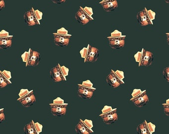 Riley Blake Designs - Licensed Smokey Bear - Toss Green # C9252R-GREEN - Cotton Woven Fabric