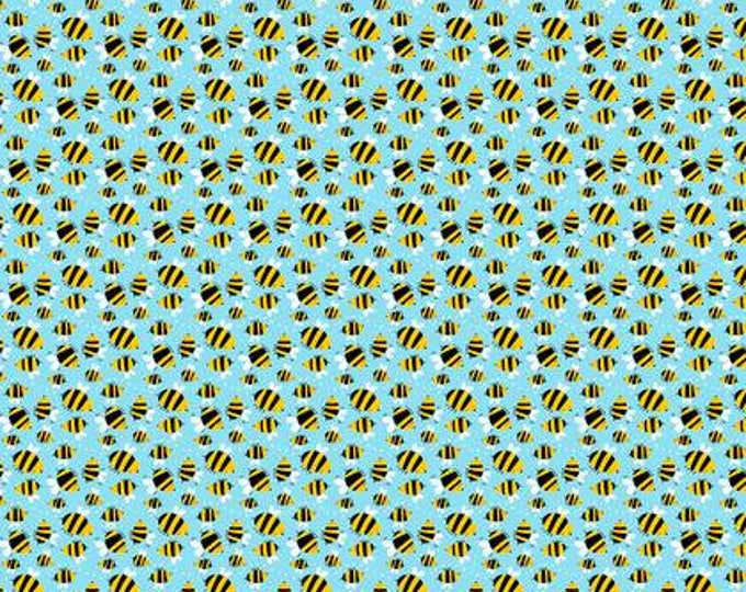 SALE !! Wings and Things, Bumble Bees Blue designed by David Walker for Free Spirit Fabrics