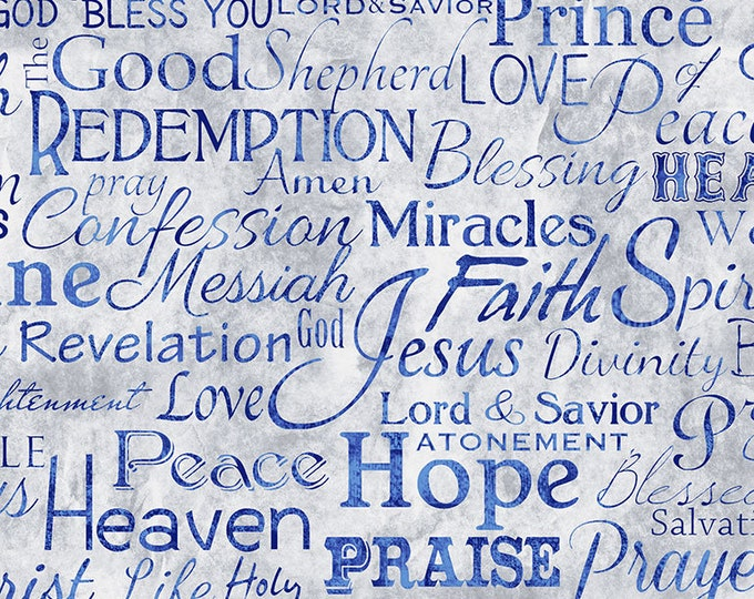 Timeless Treasures - Religious Phrases Faith-C4720-Blue - Cotton Woven Fabric