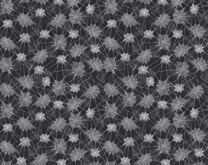 Riley Blake Fabric - Haunted House -  Spider Webs on Black Cotton Fabric Woven