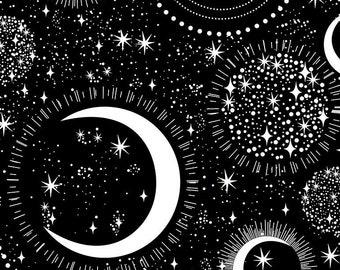 Timeless Treasures - Rainbow Moons and Stars Fun-CG7431-Black - Cotton Woven Fabric
