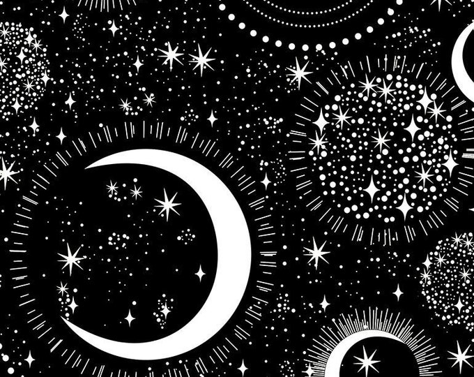 Timeless Treasures - Rainbow Moons and Stars Fun-CG7431-Black - Cotton Woven Fabric