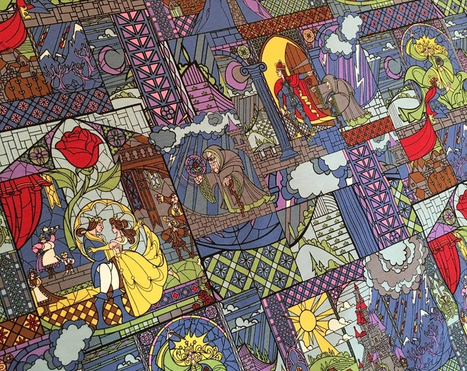 Stained Glass Beauty and the Beast Cotton Lycra Knit fabric by Springs Creative