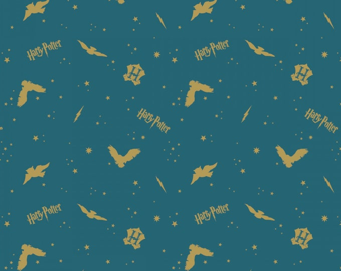 Teal In the Night Sky Assets w/Metallic on Flannel 23800129BL-1 - Licensed JK Rowlings Harry Potter 100% Cotton Flannel by Camelot