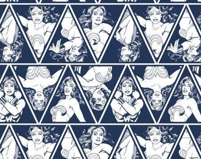 Wonder Woman Navy Triangles by Camelot Fabrics