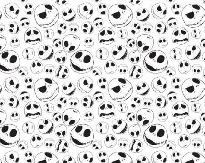 Camelot Fabric - Nightmare Before Christmas - Jack Faces Black and White Cotton Woven Fabric