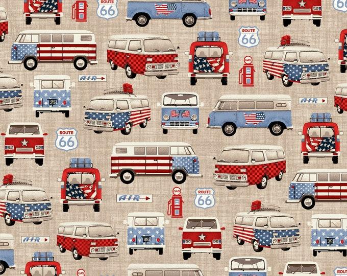 Road Trip by All American Road Trip - Vans- Tan - Cotton Woven Fabric - Studio E - 4316-33