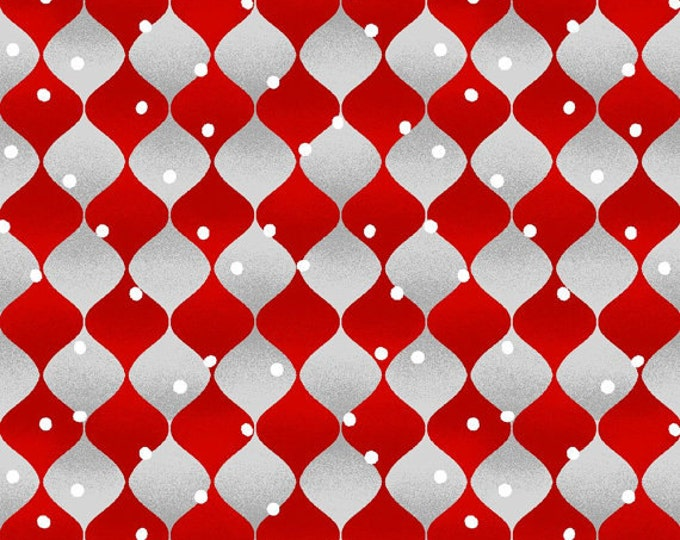 Henry Glass Holiday Cheer Geometric Red and Gray Cotton coordinate 1 Yard listing