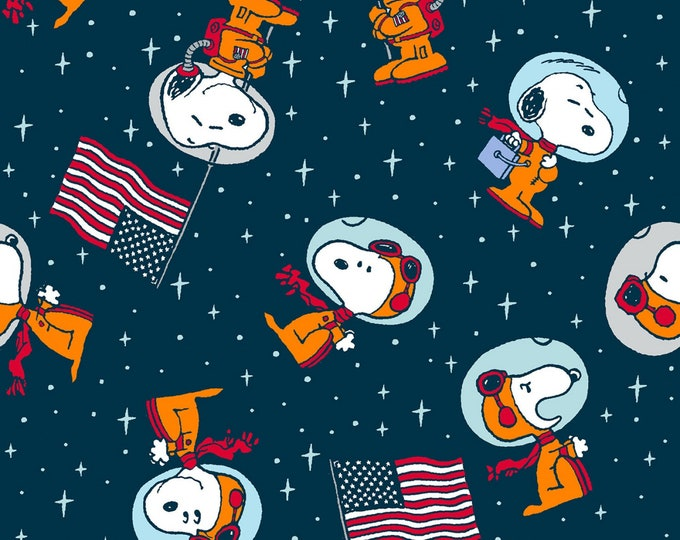 Springs Creative - Licensed Peanuts - Snoopy Space Toss # 68290B110715 - Licensed Cotton Woven Fabric