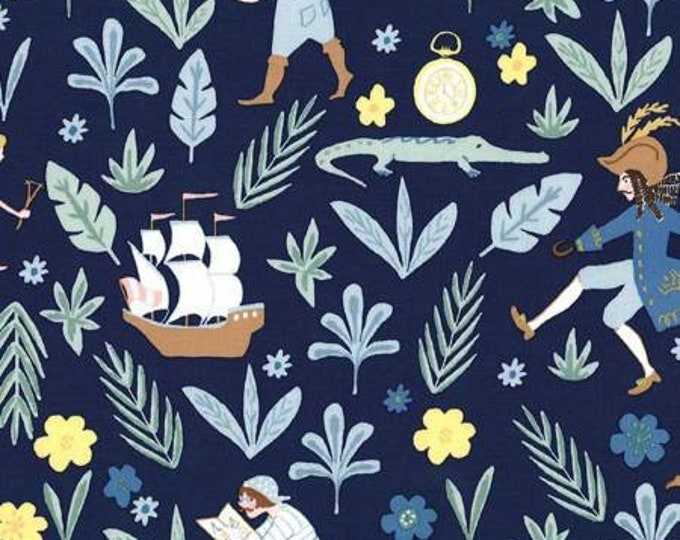 Michael Miller - Peter Pan by Sarah Jane  Awfully Big Adventure - Midnight -Metallic Cotton Woven Fabric