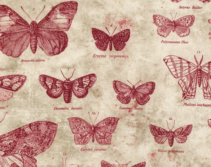 FreeSpirit - Tim Holtz - Eclectic Elements - Butterflight Red Moth and Butterflies cotton woven fabric