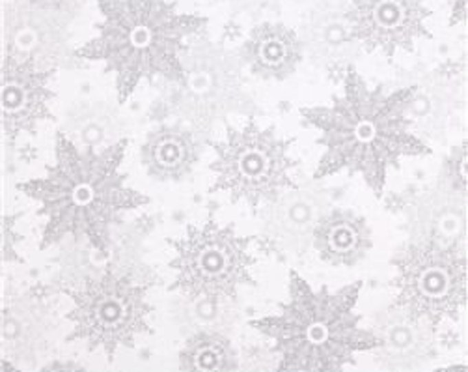 Quilting Treasures Silver Snowflakes w/Metallic Accents - Celebrate the seasons - Cotton Woven Fabric
