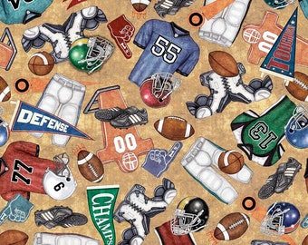 Quilting Treasures - Gridiron -  Everything Football Tan Cotton Woven Fabric